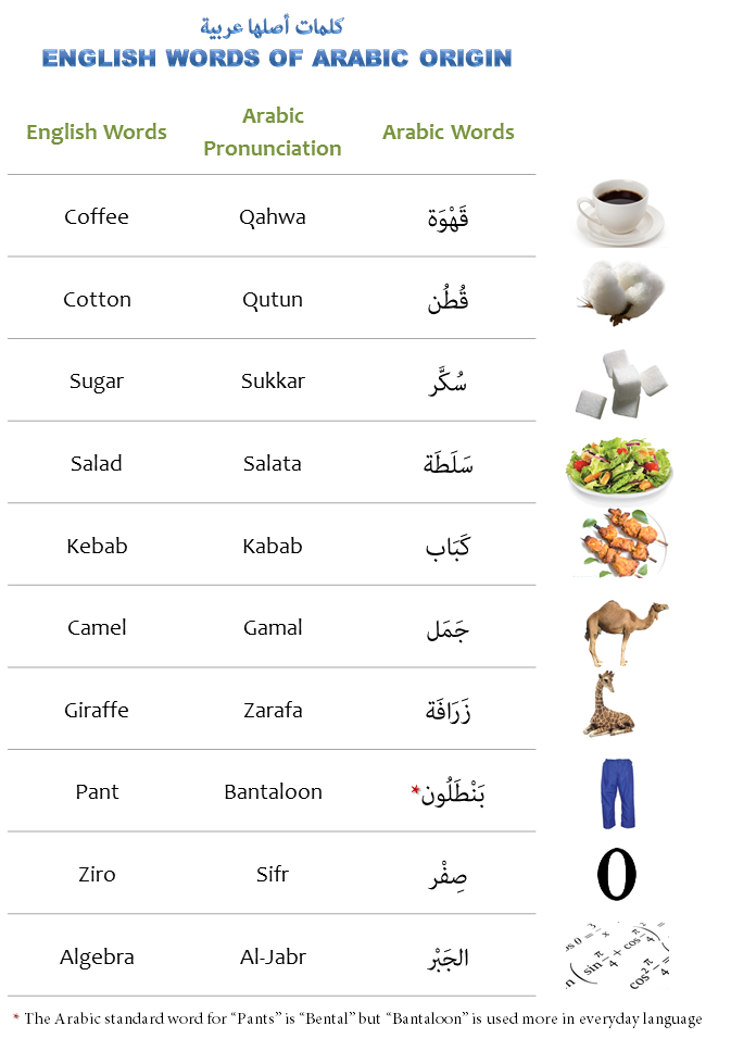 English vocabulary originated from Arabic